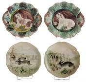 Two Majolica Sheepdog Plates Two