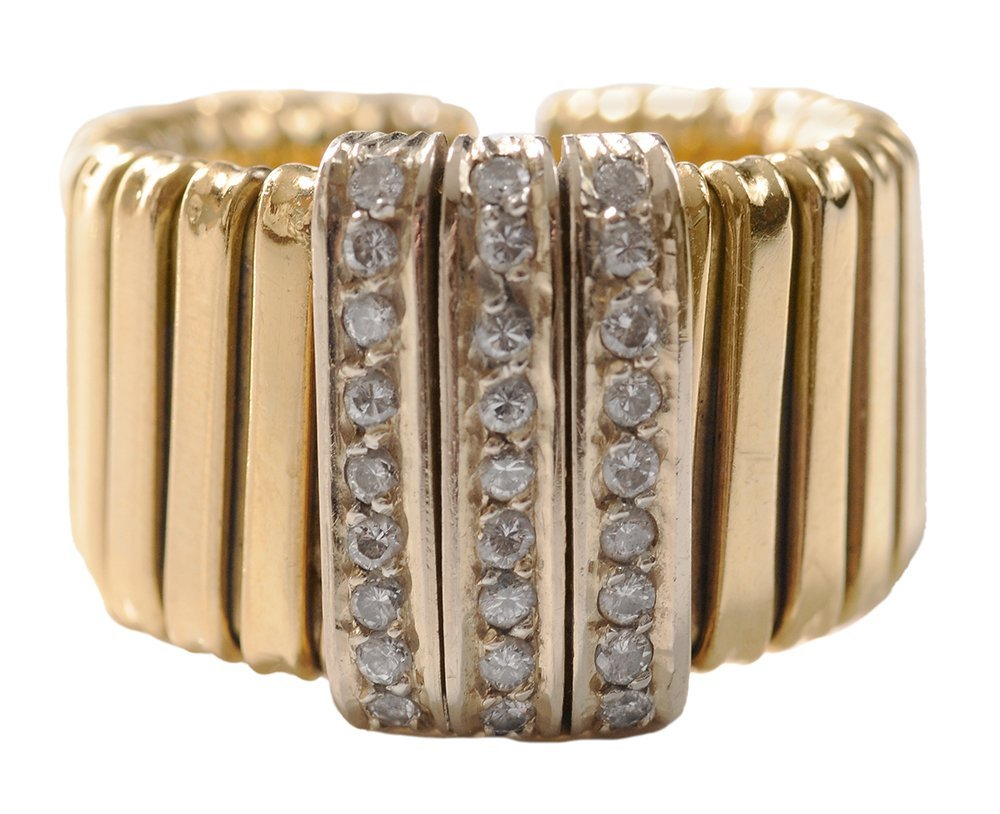 18 Kt. Gold and Diamond Flexible Ring