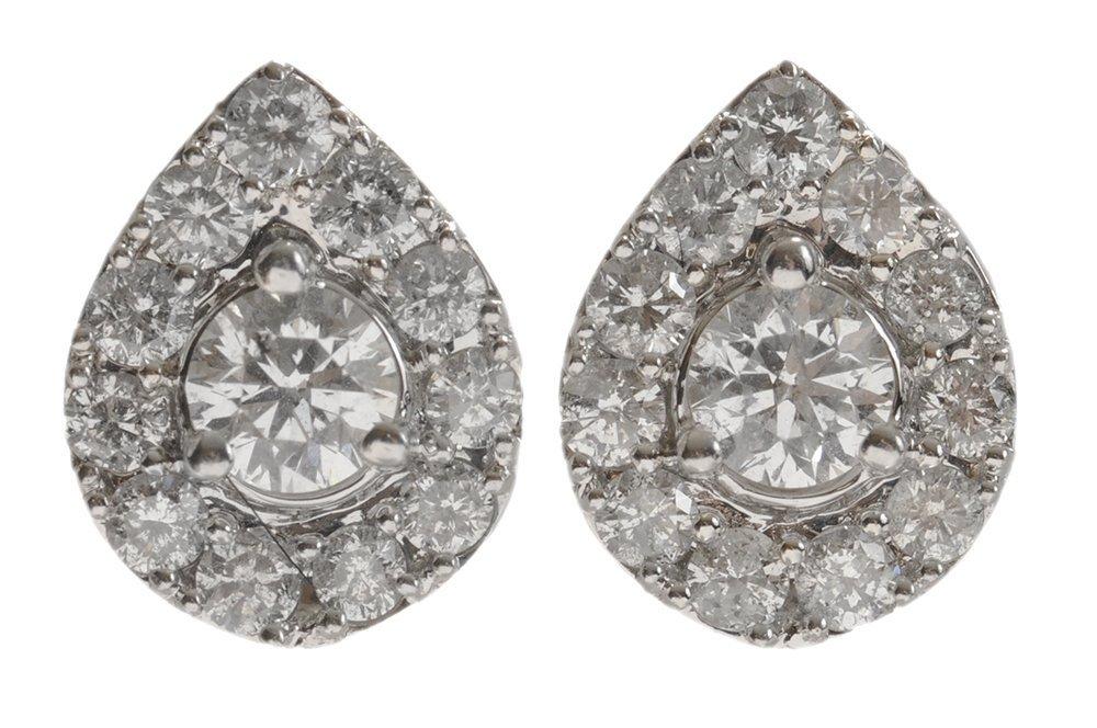 Pair Diamond Cluster Earrings