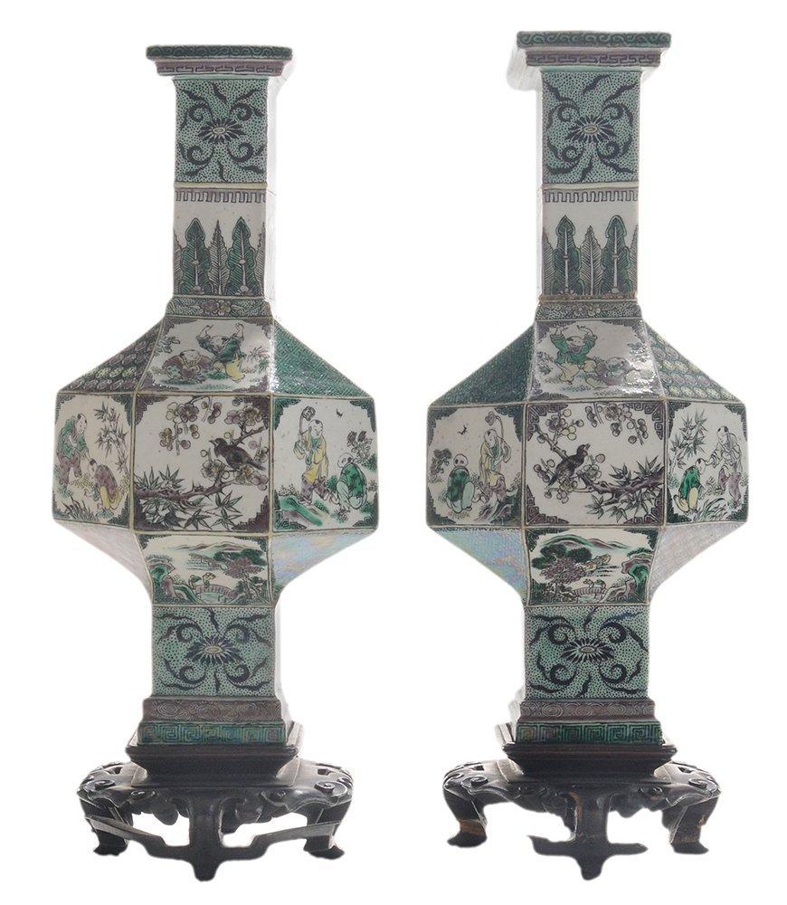 Pair Antique Famille Noir Porcelain