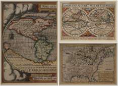 Three Framed Hand-Colored Maps