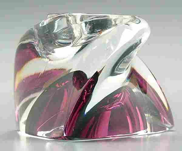 Val St. Lambert glass candle holder,