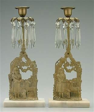 Pair brass candlesticks,