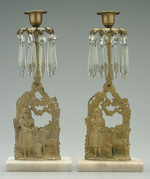 6: Pair brass candlesticks,