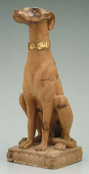 Carved figure of whippet,