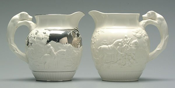 9: Two Wedgwood hound handle pitchers: