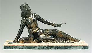 Spelter reclining woman with lamb,