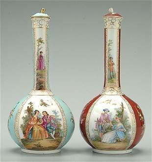 Pair porcelain lidded jars,