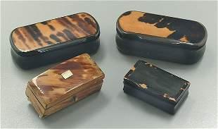 Four tortoise snuff boxes