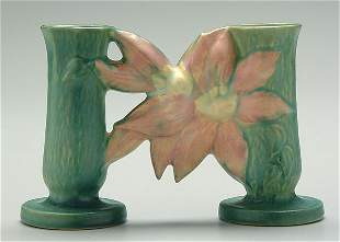 Roseville Clematis double bud vase,