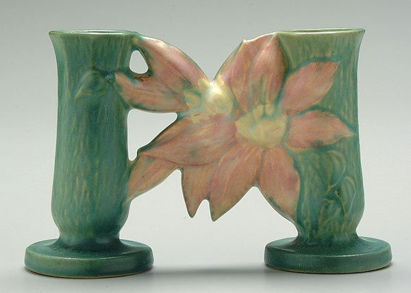 16: Roseville Clematis double bud vase,