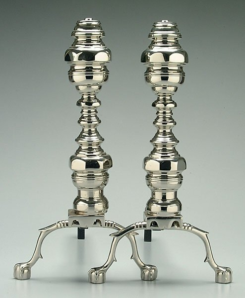 17: Pair Empire style andirons,