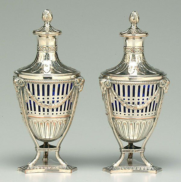 Pair silver plate and glass urns,