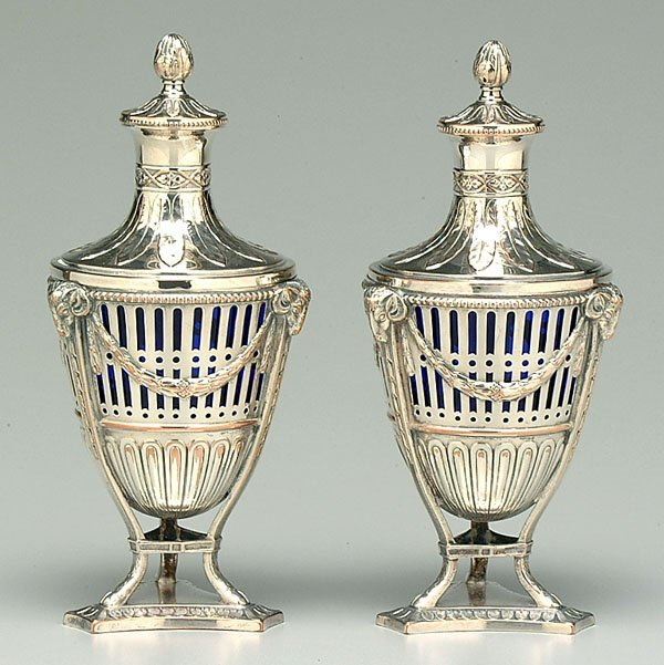 22: Pair silver plate and glass urns,