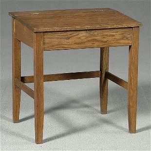 Oak lift-top desk,