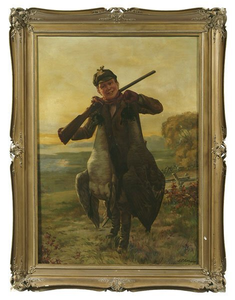 690: Painting of boy with geese,