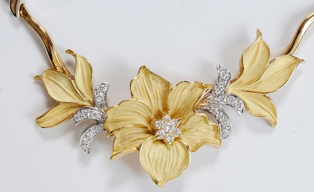 18 Kt. Gold and Diamond Floral - 2