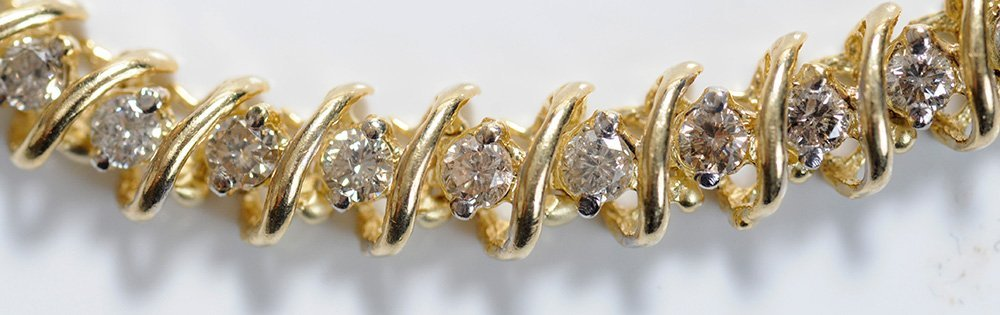 Diamond and Gold Tennis Bracelet - 2