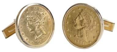 Pair 14 Kt. Gold Coin Cufflinks