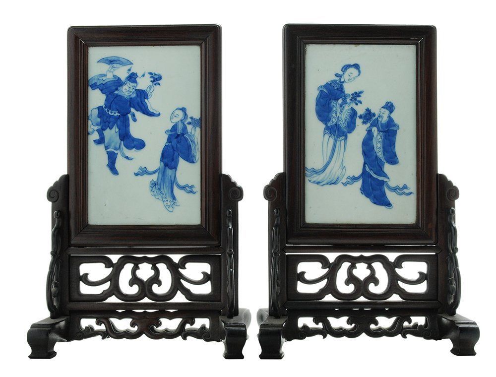 Pair Blue and White Porcelain Table
