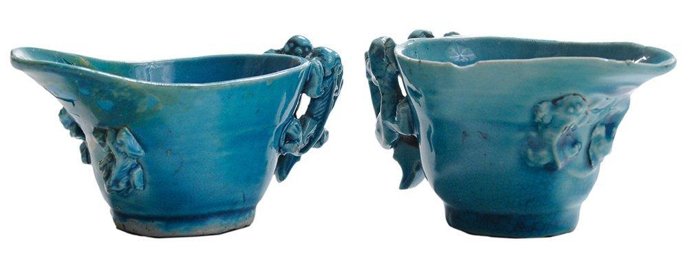 Pair Turquoise-Glazed Porcelain