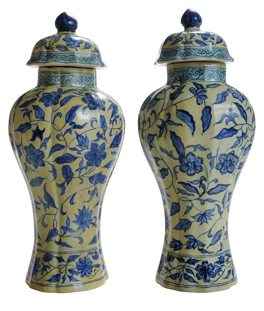 Pair Ming Style Covered Vases