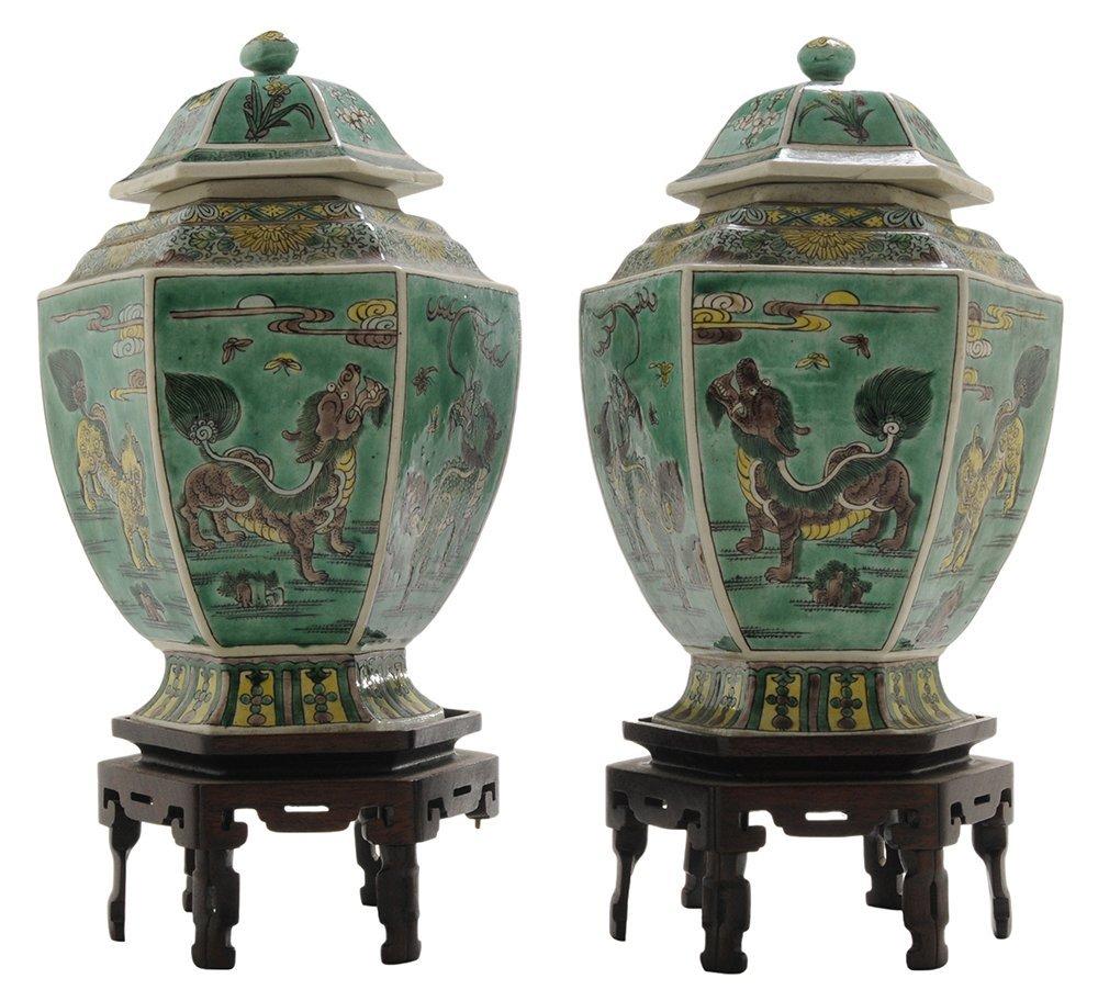 Pair Antique Chinese Hexagonal