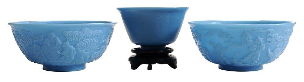 Three Peking Glass Blue Bowls
