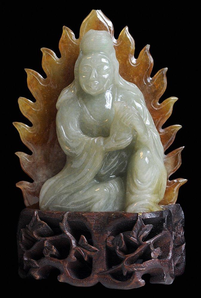 Celadon Jadeite Quanyin Holding a