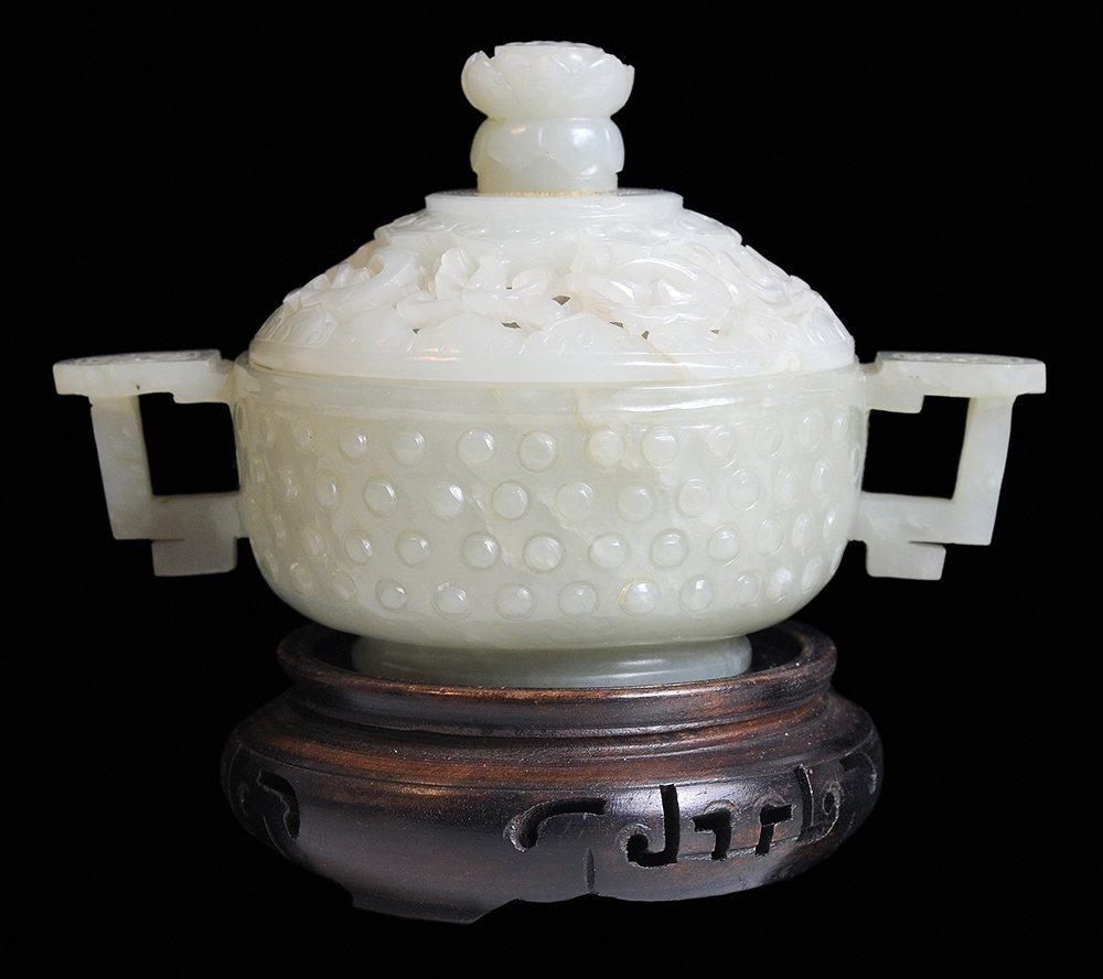 Fine Carved Celadon Jade Two-Handled