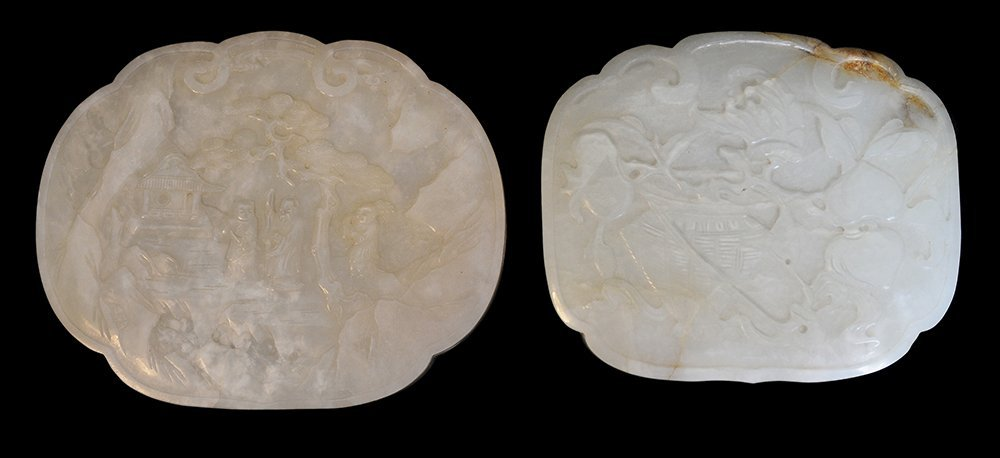 Two Carved Jade Lidded Boxes, with