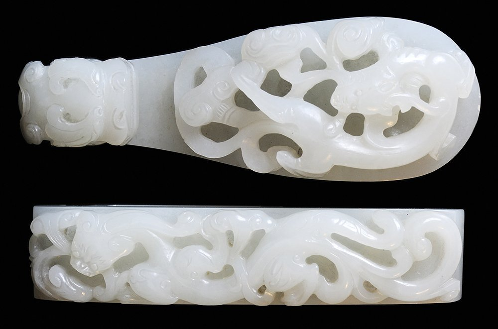 Two Large Antique Chinese White Jade