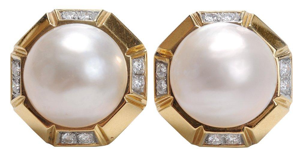 18 Kt. Gold Mabé Pearl Earrings