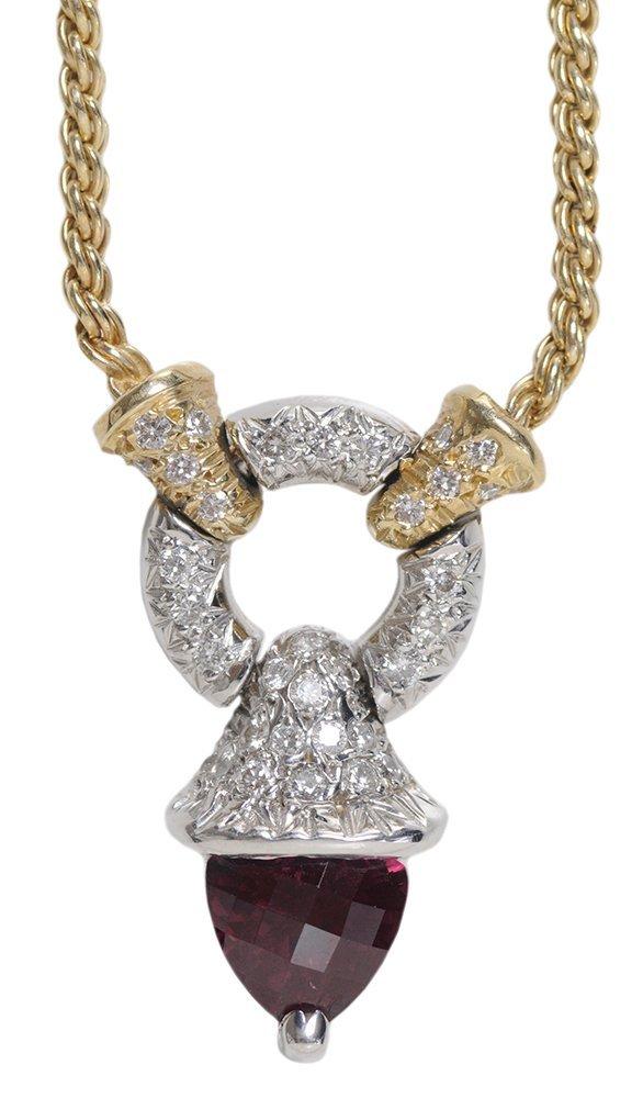 Pink Tourmaline Pendant Necklace