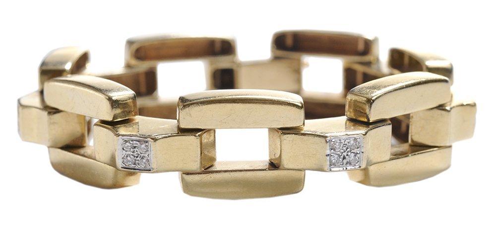 14 Kt. Gold and Diamond Link Bracelet