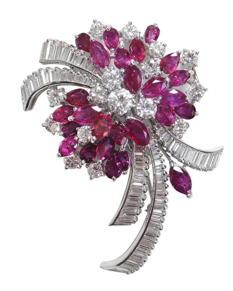Fine Ruby and Diamond Brooch