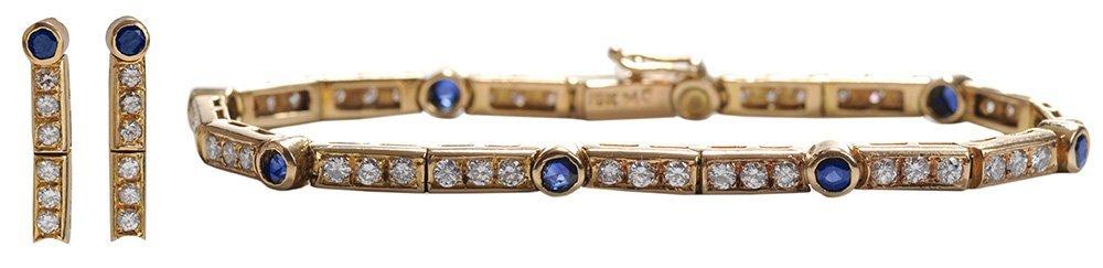 18 Kt. Gold Bracelet and Earrings