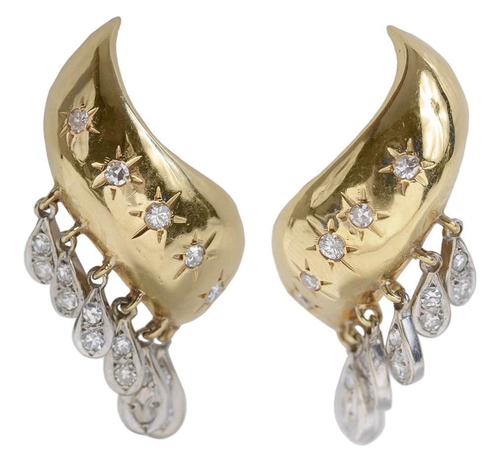 Pair 14 Kt. Gold and Diamond Earrings
