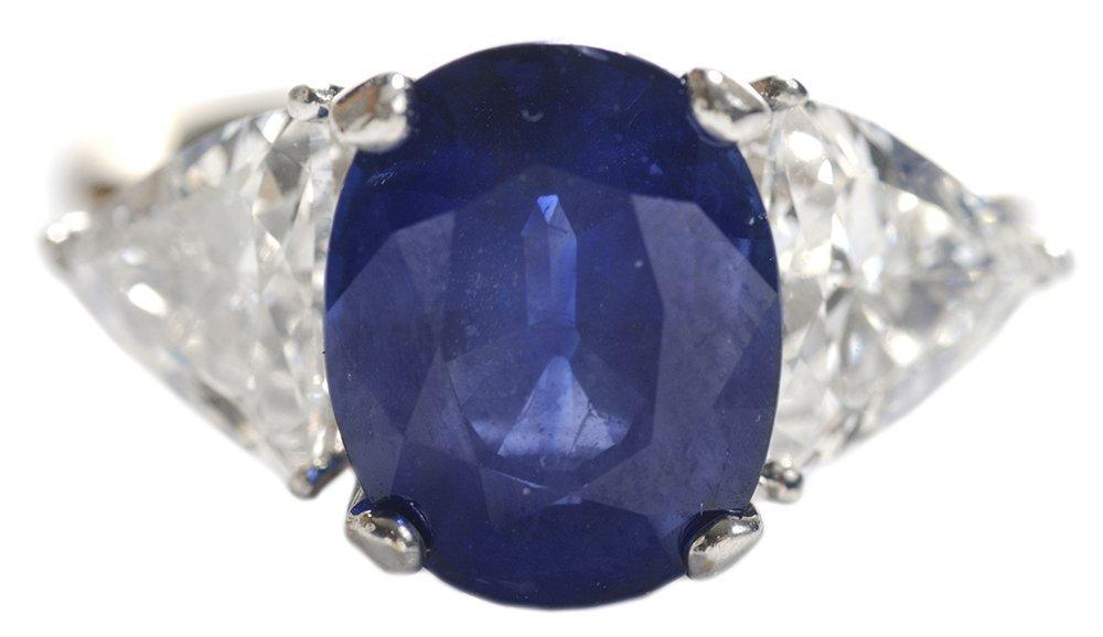 Fine Blue Sapphire and Diamond Ring