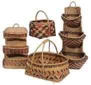 Four Choctaw River Cane Baskets