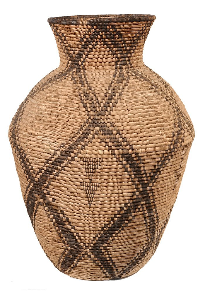 Large Native American Coiled Basket-