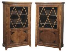 Fine Pair Biedermeier Inlaid Walnut