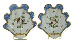 Two Herend Shell Dishes with