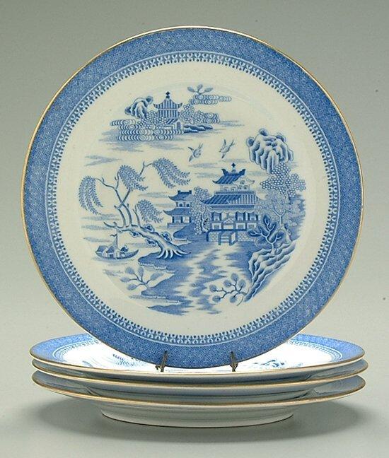 2: Four blue transferware plates: