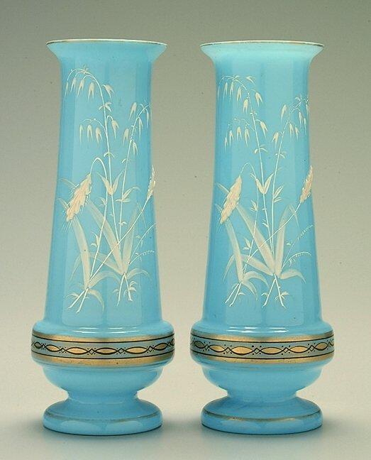 4: Pair blue Bristol vases,