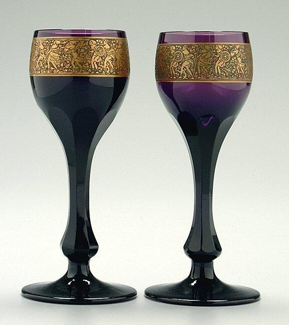 10: Pair amethyst Moser goblets,