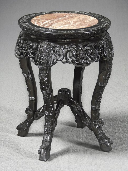 15: Marble top Chinese plant stand,