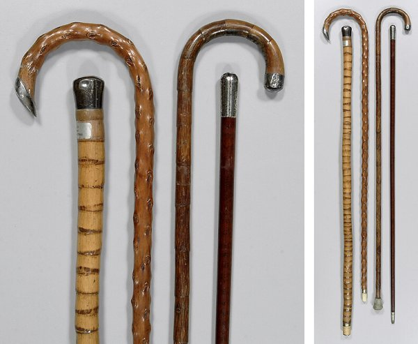 17: Four sterling mounted canes: