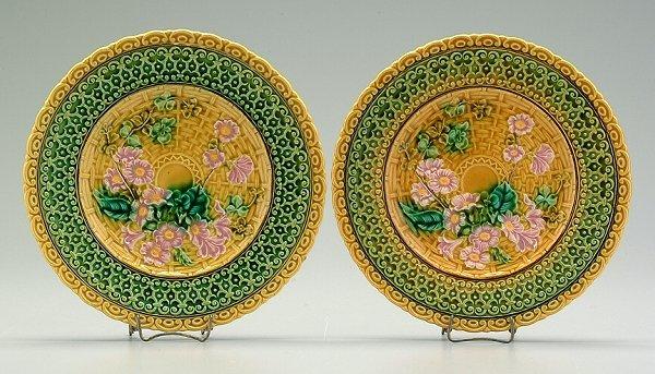 19: Two majolica plates: