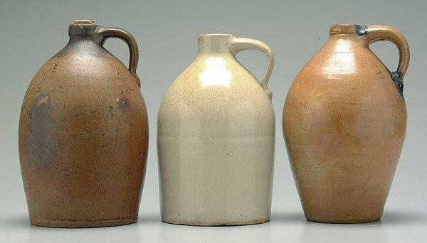 21: Three salt glazed stoneware jugs:
